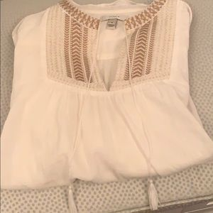 J Crew White Cotton Tunic with Tassels